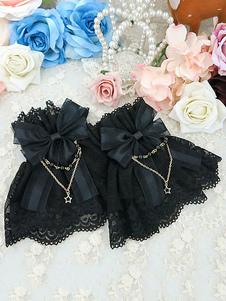 Image of Braccialetti Lolita dolci monocolore fiocchi polsiere accessori neri Tea party