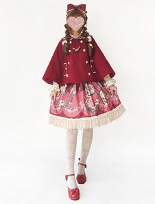 Image of Lolita Mantello dolce tweed con colletto mantello pieghettature