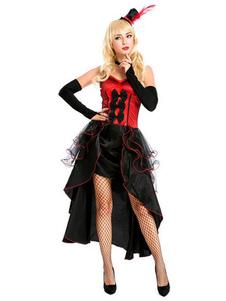 Image of Costume da showgirl Halloween Donna Basso Basso Corto Nero Rosso Abiti Vestito 3 pezzi