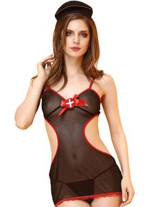 Image of Infermiera Costume Sexy Halloween Donna Nero Abiti Outfit 3 pezzi