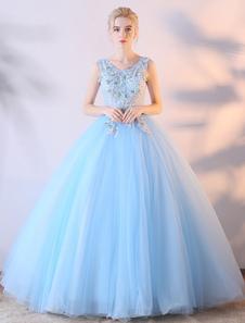 Image of Abito da ballo abito da ballo Abito da sposa in pizzo blu fiori colorati Abito da sposa con scollo a V Abito lungo Quinceanera