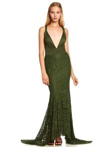 Image of Abiti da sera in pizzo verde scuro sirena vestito da promenade sexy scollo a V indietro croce abito lungo formale