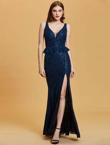Image of Abiti da sera Royal Blue Sexy Split Peplo Lace Paillettes Lunghezza abiti da sera formale