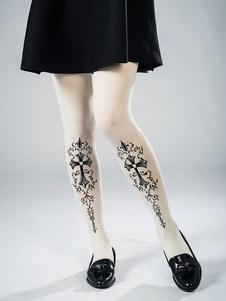 Image of Collant Lolita Gothic Collant in velluto Lolita con stampa a croce