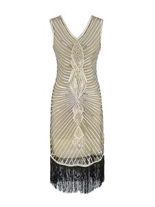 Image of Flapper Dress Great Gatsby 1920s Tassels Gold Women Charleston D