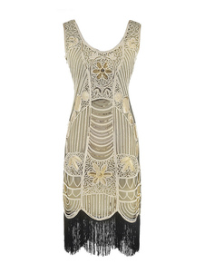 Image of 1920s Costume Flapper Dress Great Gatsby Gold Tassels Vintage Ch