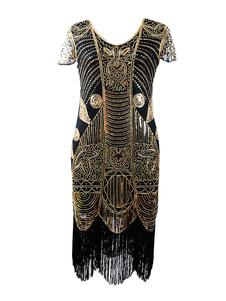 1920 Flapper Dress 2018 Gran Gatsby Vintage manga corta oro borlas Charleston Dress Halloween218
