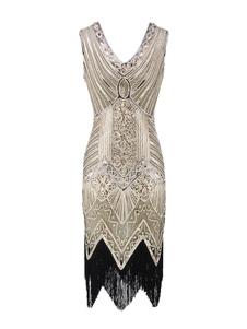 Image of 1920s Costume Flapper Dress Great Gatsby Gold Shiny Tassels Vint