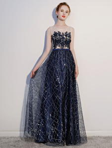 Image of Dark Navy Prom Dresses Lace Sequin Illusion Sleeveless Floor Length Evening Dress