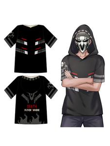 Overwatch Ow Reaper Blizzard Video juego Cosplay con capucha camiseta