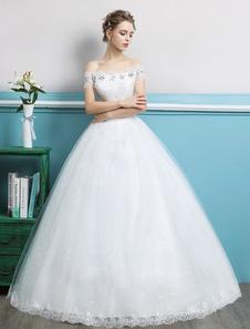 Image of Abiti da sposa con strascico da principessa e abito da sposa con strass in rilievo