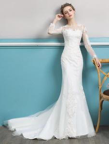 Image of Abiti da sposa a sirena con maniche lunghe in pizzo color avorio