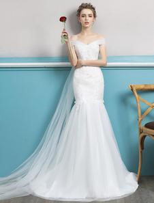 Image of Abiti da sposa a sirena Off The Shoulder Abito da sposa avorio tromba Watteau Train Lace Tulle Abiti da sposa