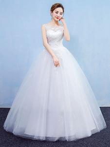 Image of Abito da sposa principessa Ball Gown Abito da sposa bianco in tu