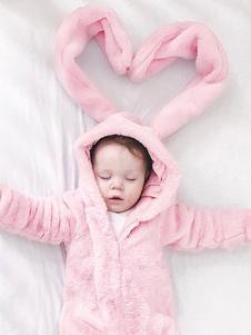 Image of Tute di animali per bambini Toddlers di flanella di orecchio grande rosa baby Bunny Costume Halloween