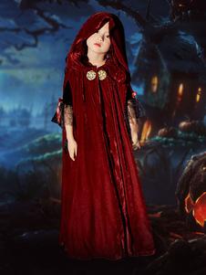Image of Strega Mantello per bambini Costume di Halloween Mantello con cappuccio in velluto bordeaux