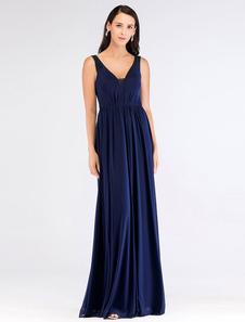 Image of Abiti da sera scollo a V abito da ballo blu lungo abito da damig