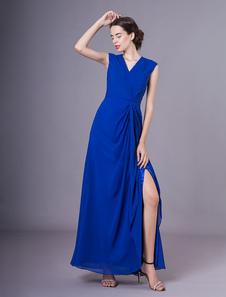 Image of        Abiti da sera blu royal con scollo a V Sexy collo alto plissetta