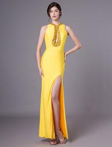 Image of        Abiti da sera gialli Sexy Colonna del fodero che borda il vestit