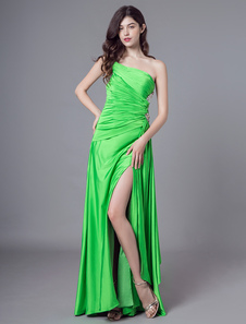 Image of Abiti da sera sexy Una spalla lunga Prom Dress Alta Split Perlin