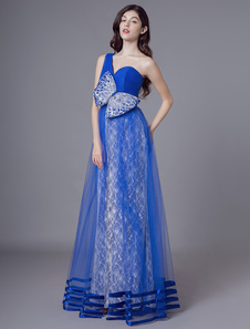 Image of Prom Dresses Long Royal Blue One Shoulder Lace Tulle Bows Maxi F