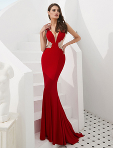 Image of Abiti da sera rossi Mermaid Luxury Sexy Prom Dress Abiti da ceri