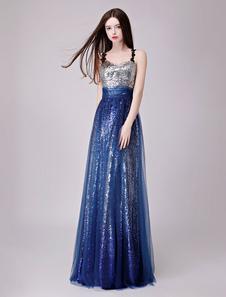 Image of Sequin Evening Dresses Dark Navy Prom Dress Straps Floor Length