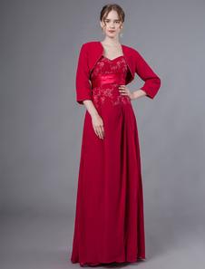 Image of Abiti per la madre della sposa Abiti Abiti in chiffon rosso con