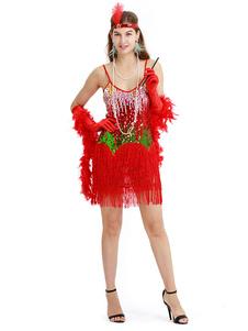 Image of 1920s Flapper Dress Red Sequin Fringe Great Gatsby Strap Women V