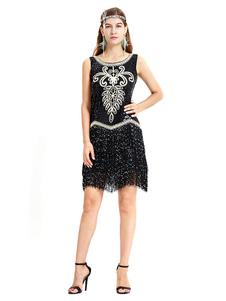 Image of Black Flapper Dress Fringe Sequin Women 1920s Great Gatsby Retro