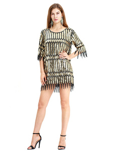 Image of Gold Flapper Dress Sequin 1920s Halloween Great Gatsby Retro Cos