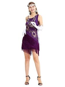 Image of Purple Flapper Dress Great Gatsby Costume Sequin Bead Fringe Wom