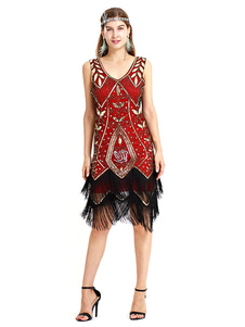 Image of 1920s Flapper Dress Great Gatsby Sequin Fringe V Neck Two Tone W