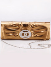 27*9.7cm Noble Golden PU Special Occasion Handbags For Women