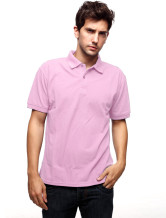 Pink 60% Cotton 40% Terylene Short Sleeves Mens Polo Shirt