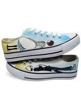 Popular White Hand-painted Canvas Flat Shoes For Women