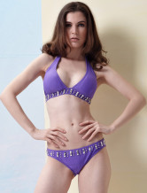 Sexy Purple Nylon Womens Bikini Swimsuit