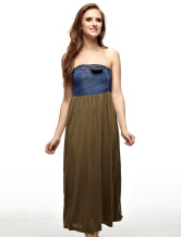 Elegant Hunter Green Viscose Jean Fabric Womens Dress