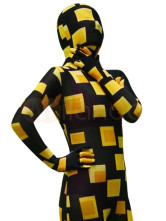 Full Body Lycra Spandex Unisex Catsuit Zebra Black with Yellow Grid