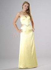 Sheath Strapless Satin Evening Dress