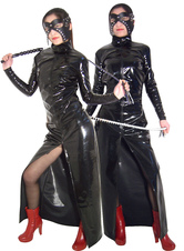 Women's Shiny Black Front Zip PVC Catsuit