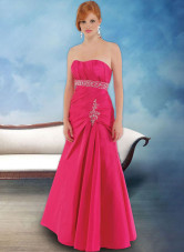 A-line Empire Waist Strapless Taffeta Prom Dress/Homecoming Dress