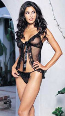 Black Lace Trim Intimate Lingerie Babydoll And Panty Set