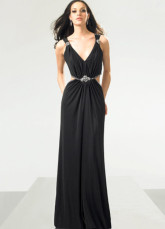 Black Elegant Sheath Deep V-Neck Chiffon Prom Gown