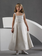 White Dress Applique Girl satin fleur