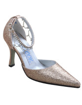 Champagne Rhinestone Satin Wedding Pumps