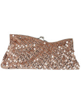 Champagne Satin Sequin Party Handbag