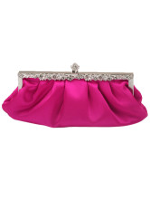 Rose Red Satin Prom Clutch
