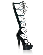 High Heel Black PU Lace Tie Sexy Platform Sandals