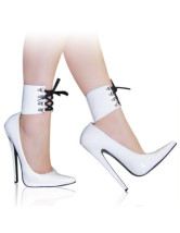 High Heel White Patent Ankle Straps Sexy Pumps